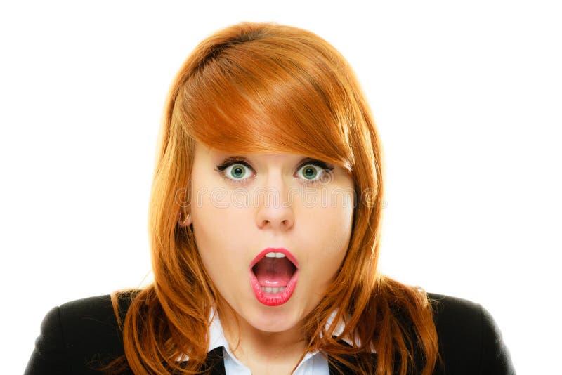 Surprised a choqué le visage de femme avec la bouche ouverte photographie stock libre de droits