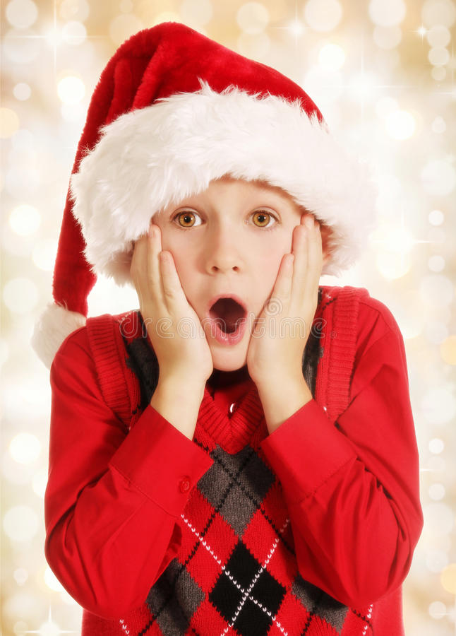 Surprised Christmas boy royalty free stock photo