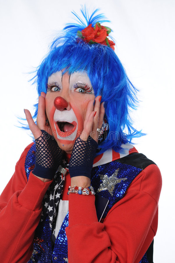 Surprised Clown with Blue Hair stock images