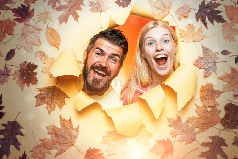 Surprised couple on autumn background. Romantic couple wearing pullover on autumn leaves background. Joyful couple is royalty free stock images