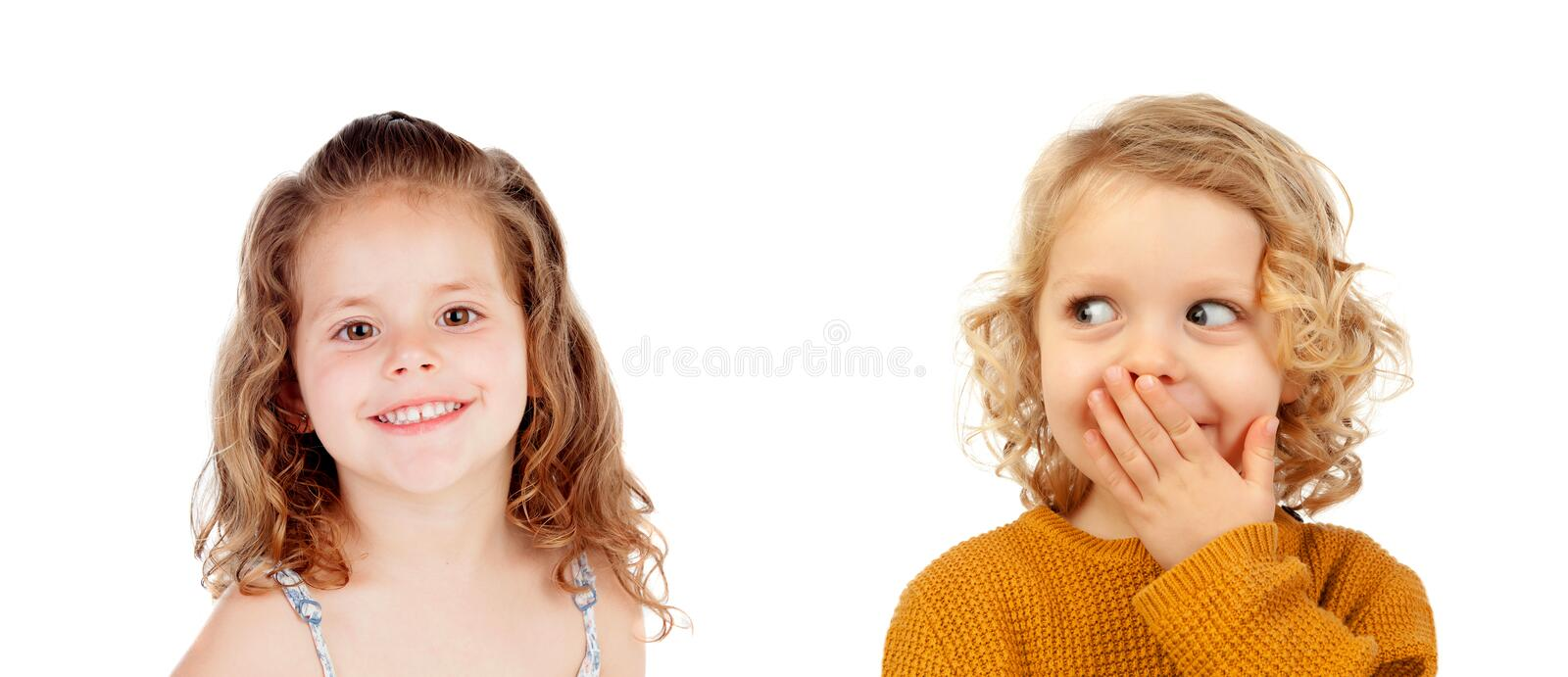 Surprised couple of children stock photo