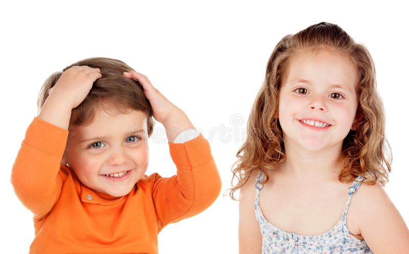 Surprised couple of children royalty free stock image