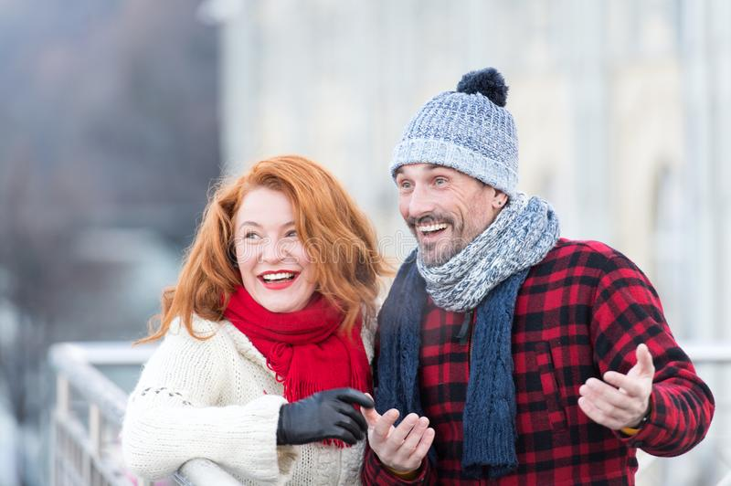 Surprised couple in the city. Surprised funny men with woman. Urban guy and lady have fun on meeting. Aged family wondered to city royalty free stock photos