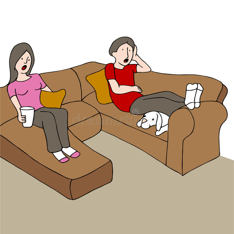Surprised Couple On Couch stock illustration