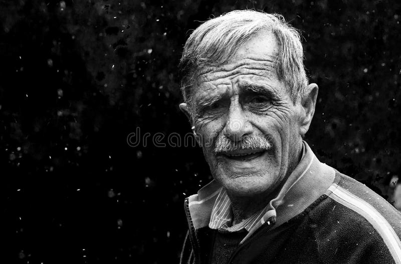 Surprised elderly man stock photo