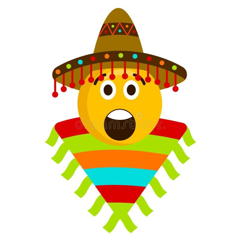Surprised emoji with a mexican hat. Vector illustration design vector illustration