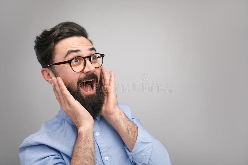 Surprised and excited man stock photos