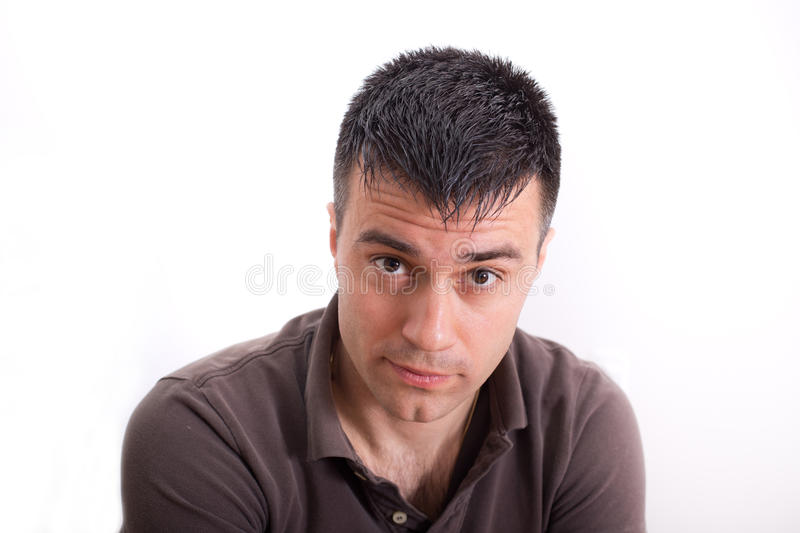 Surprised expression on male face stock photography