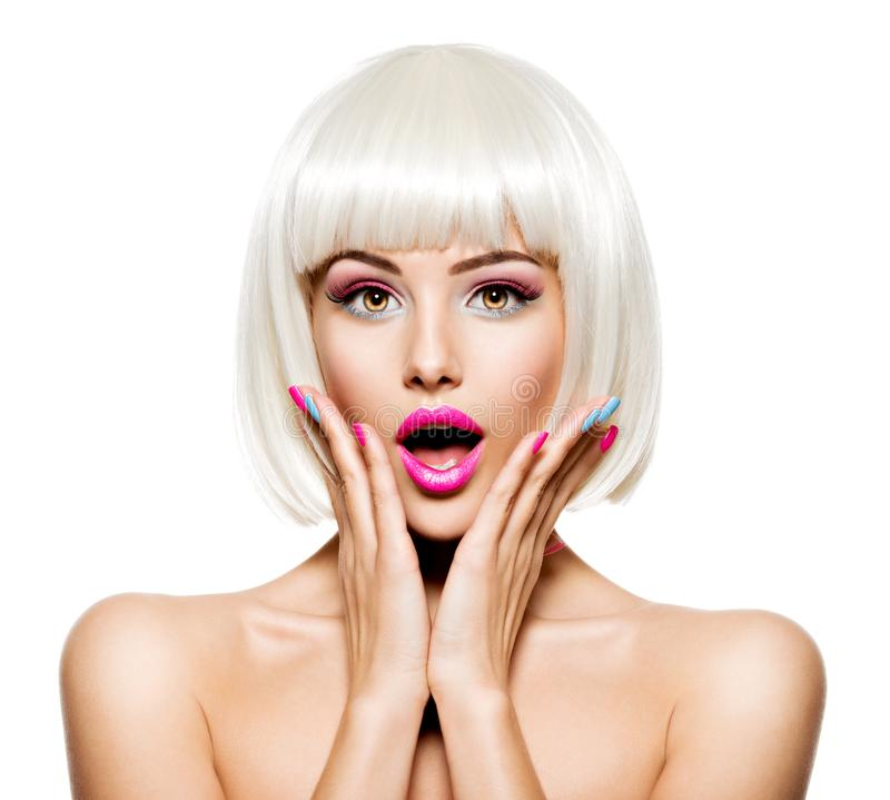 Free Surprised Face Of A Pretty Woman  With White Hairs And Multicolor Nails Stock Photography - 163148842