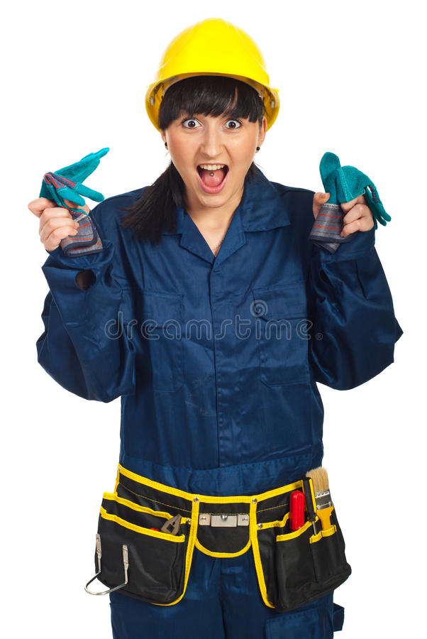 Download Surprised Funny Worker Woman Stock Image - Image: 19108165