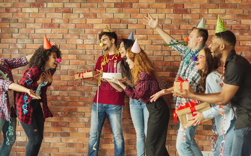Surprise party for birthday concept stock photography