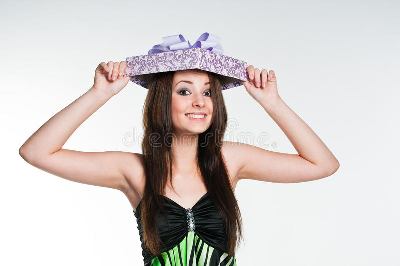 Download Surprised Girl With Gift Box Stock Photo - Image: 10683060