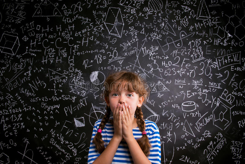 Surprised girl, hands on mouth, blackboard with mathematical symbols royalty free stock photography