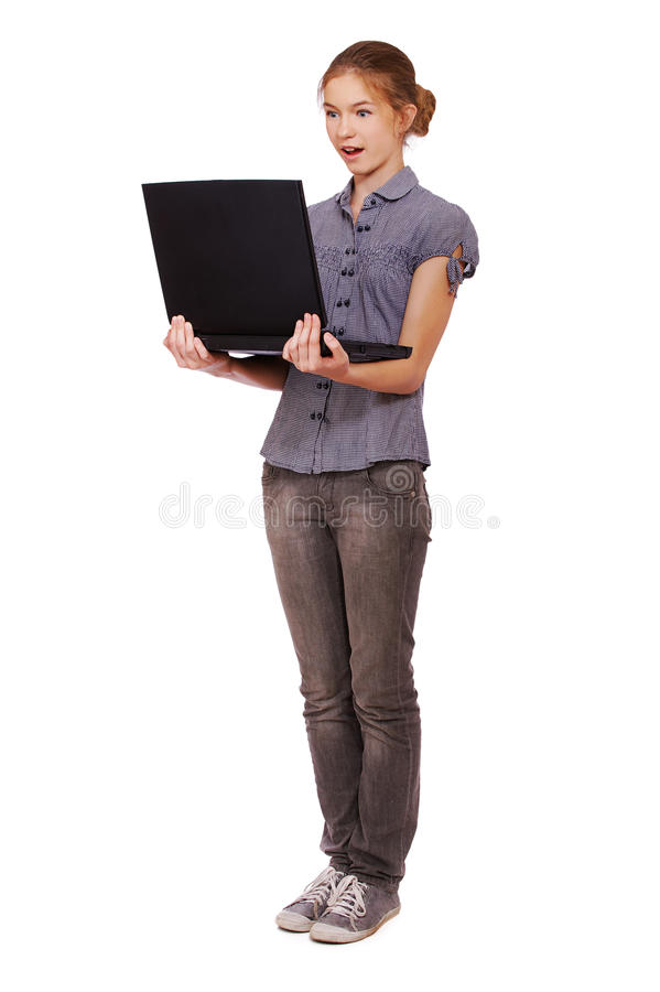 Download Surprised girl with laptop stock image. Image of emotion - 16458739