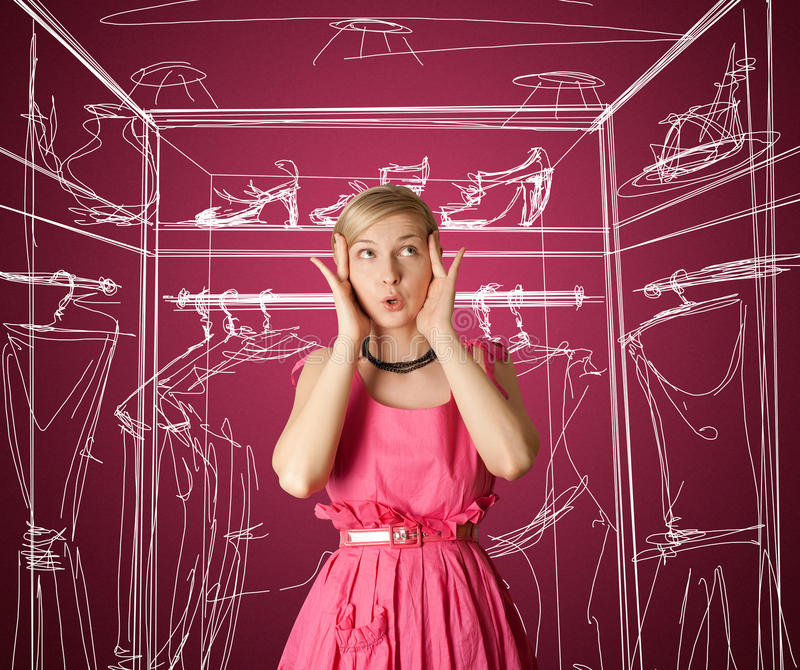 Download Surprised girl in pink stock image. Image of funny, lips - 18662377