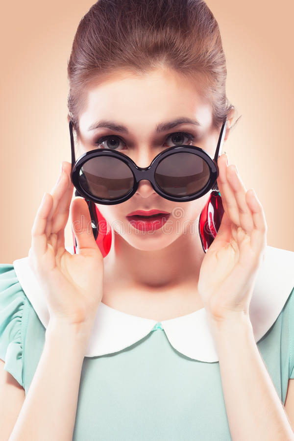 Download Surprised Girl In Round Sunglasses Stock Photography - Image: 26742302