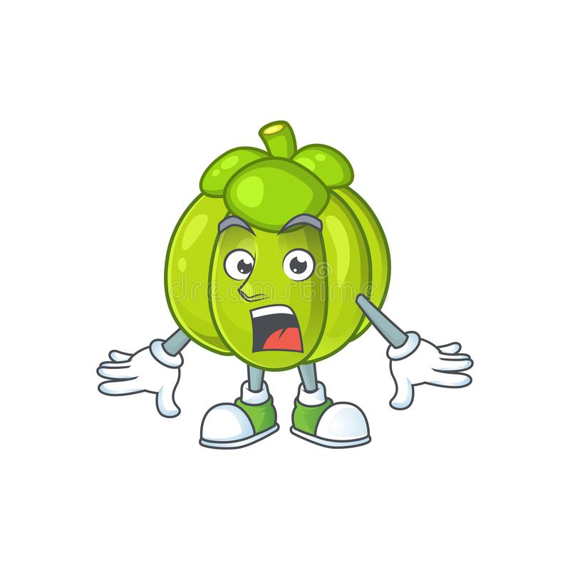 Surprised green pumpkin ripe on a white background. Vector illustration vector illustration