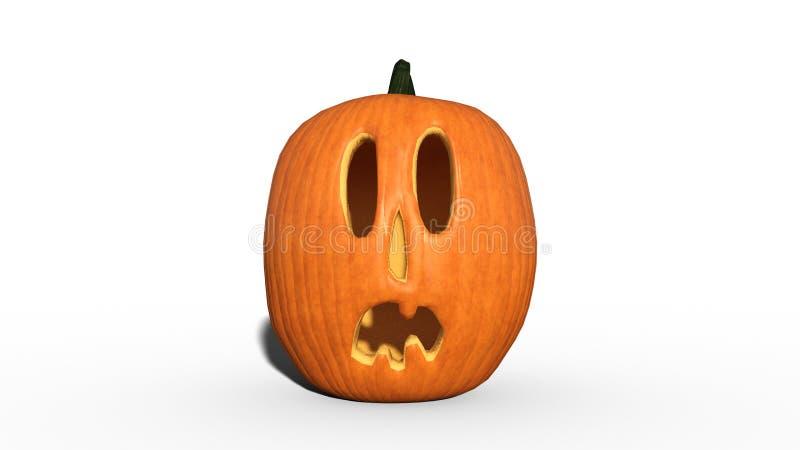 Surprised Halloween pumpkin, carved Jack O Lantern decorative pumpkin isolated on white background, 3D rendering royalty free illustration