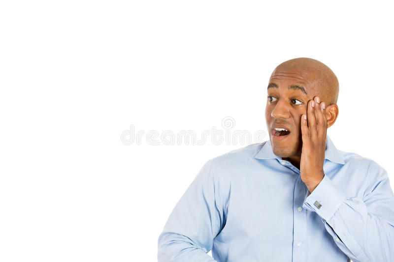Download Surprised Handsome Bald Man With Hand On Cheek Stock Image - Image of astounded, arabic: 35149079