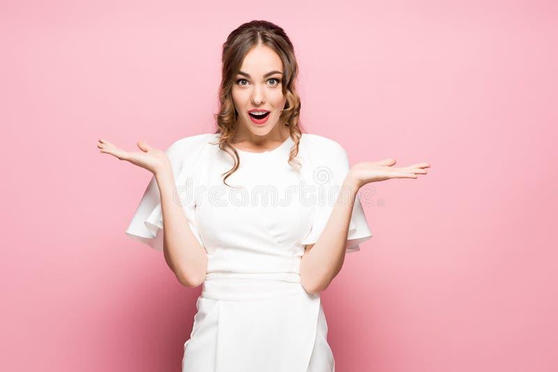 Surprised happy beautiful woman looking sideways in excitement. royalty free stock photos