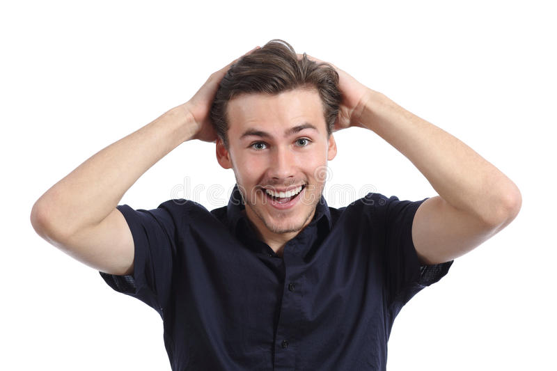 Surprised happy man smiling with hands on head stock image