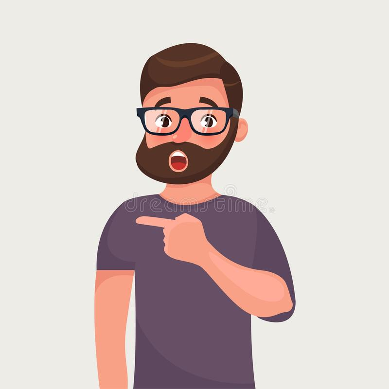 Surprised hipster beard man points. Incredible or hot news. Shocking suggestion. Vector cartoon illustration royalty free illustration