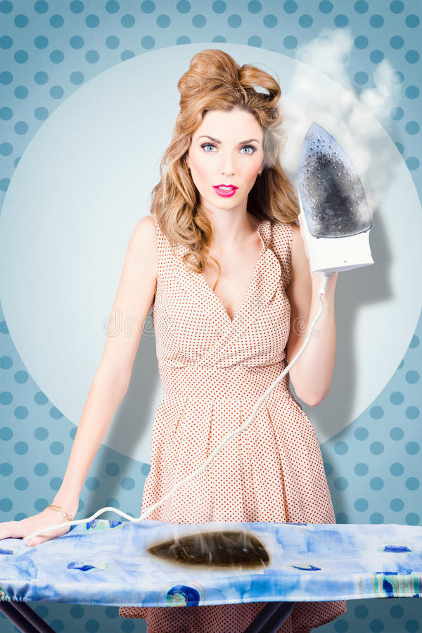 Download Surprised Housewife With BURNT OUT Ironing Board Stock Photo - Image: 32395074