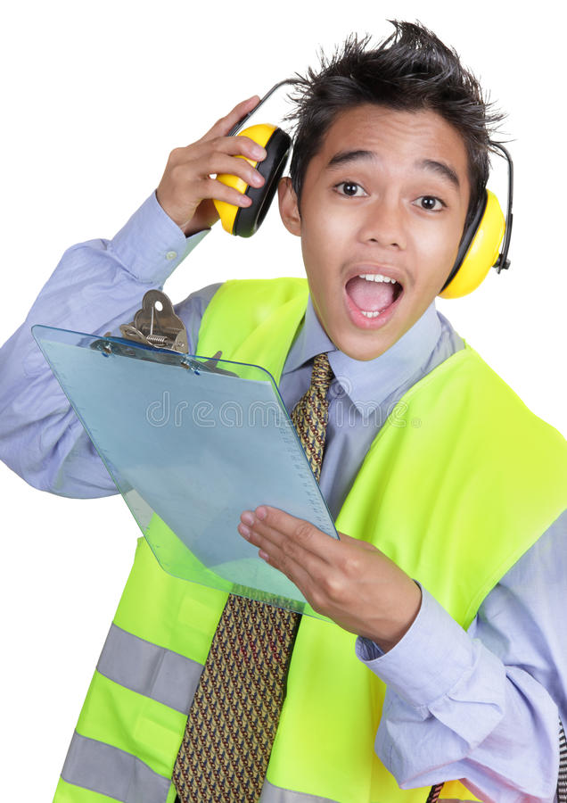 Surprised junior foreman stock photography
