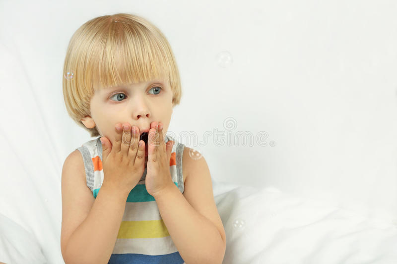 Surprised little boy royalty free stock photos