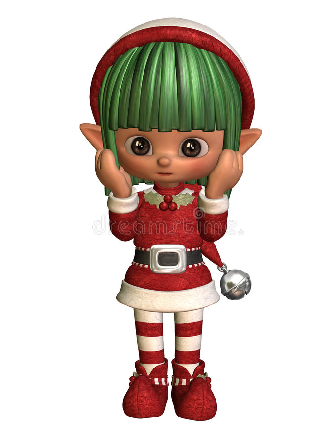 Surprised little christmas elf vector illustration
