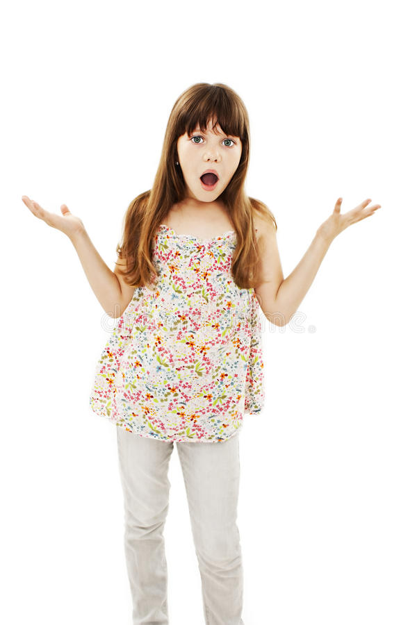 Surprised little girl with outstretched arms stock photos