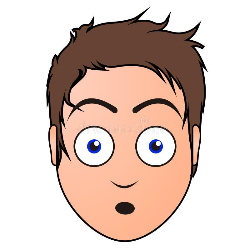 Surprised man avatar stock illustration