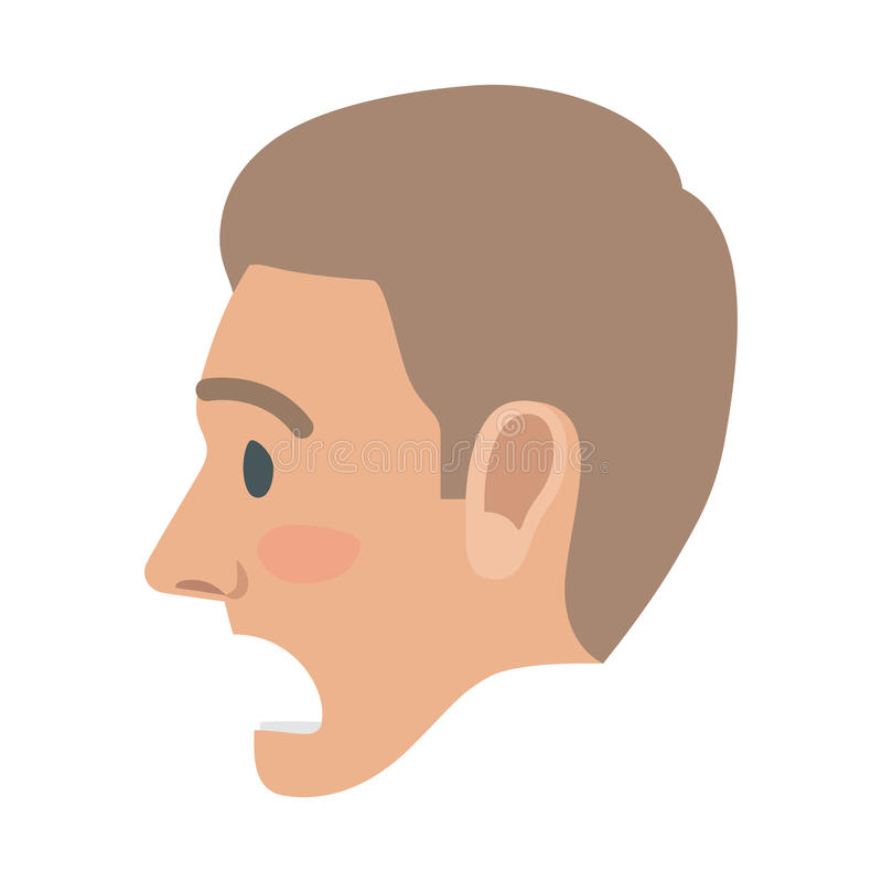 Surprised Man Face Flat Vector Icon. Surprised brown-haired man face icon. Male head in profile view with open mouth and raised eyebrows flat vector isolated on stock illustration