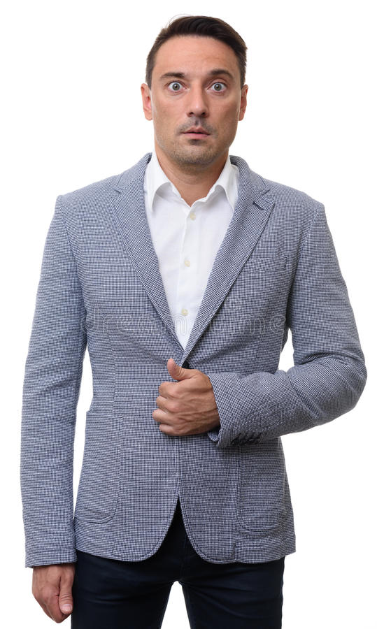 Surprised man in fashionable jacket stock images