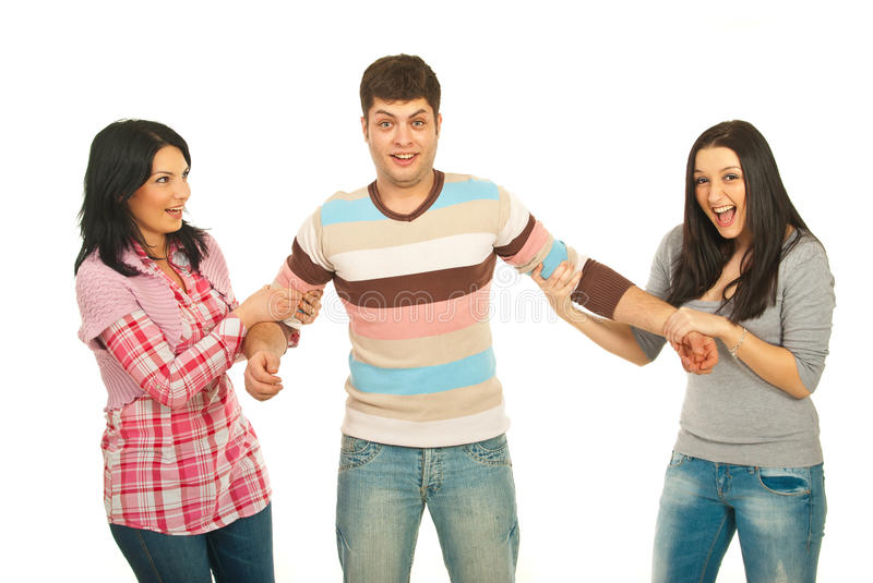 Surprised Man Between Two Women Royalty Free Stock Images