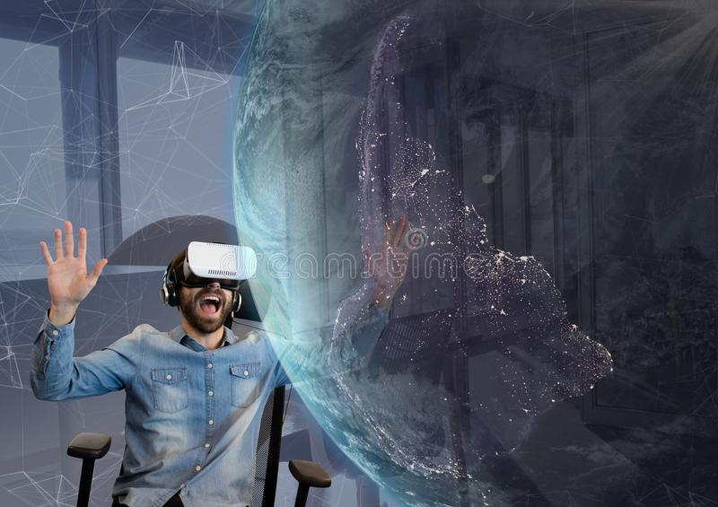 Surprised man in VR headset looking at a 3D planet against sky background vector illustration