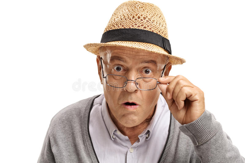 Surprised mature man looking at the camera royalty free stock images