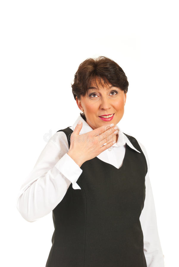 Surprised mature woman looking up royalty free stock image