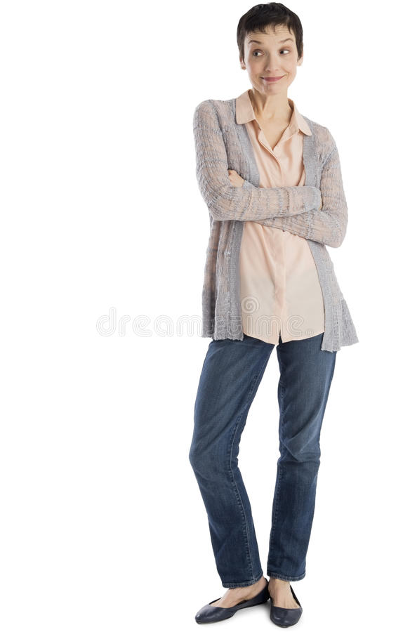 Surprised Mature Woman Standing Arms Crossed Royalty Free Stock Images