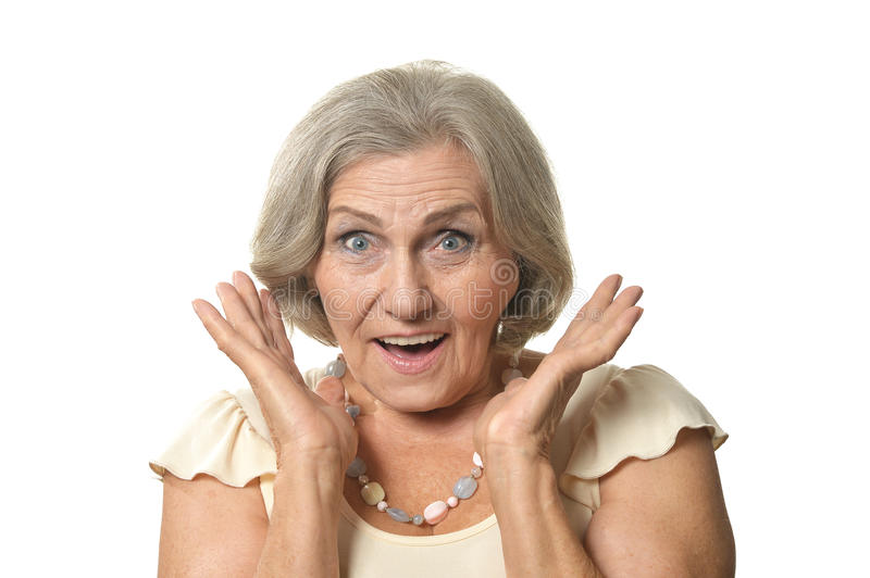 Surprised Older woman. On a white background royalty free stock photography