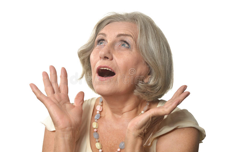 Surprised Older woman. On a white background stock photos