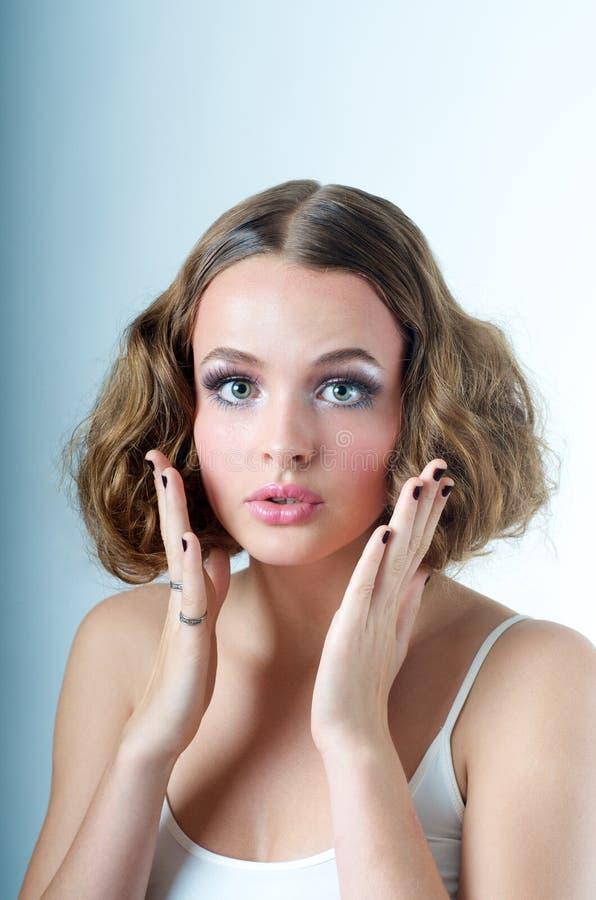 Download Surprised oops Model look stock photo. Image of hair - 16744388