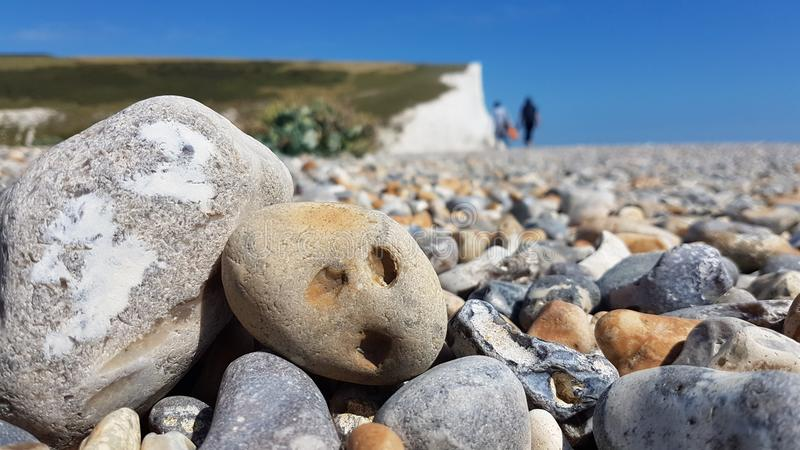 Surprised pebble at Seven Sisters Cliffs. royalty free stock images