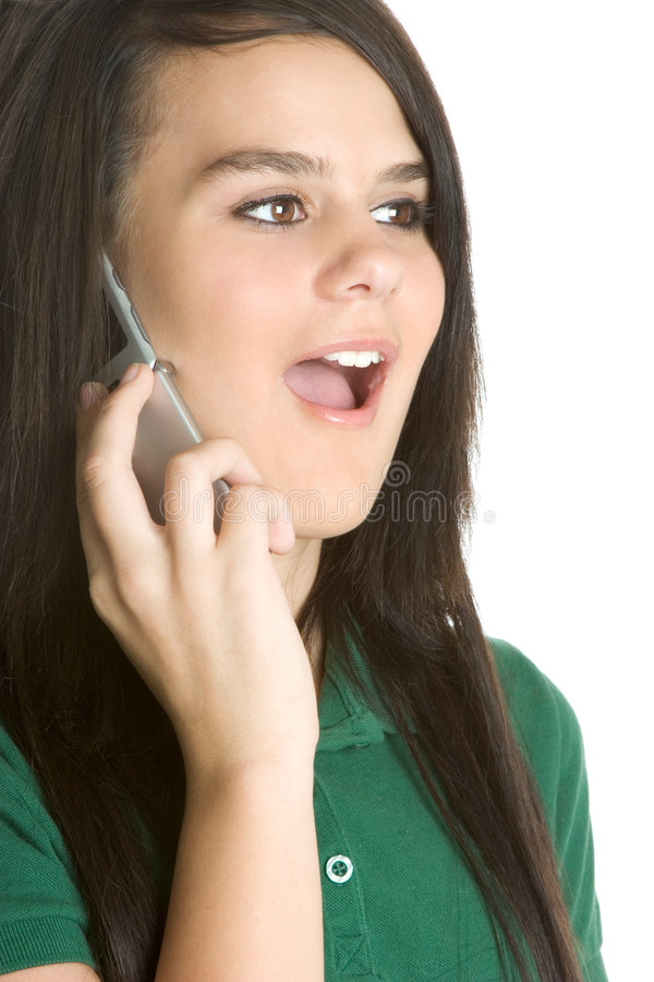 Surprised Phone Girl royalty free stock photography