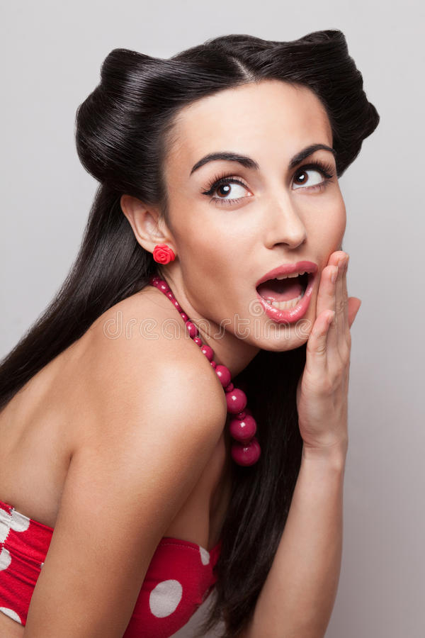 Surprised pinup girl stock images