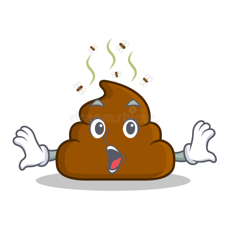 Surprised Poop emoticon character cartoon vector illustration