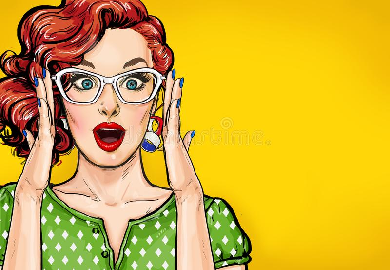 Surprised Pop Art woman in hipster glasses. Advertising poster or party invitation with club girl with open mouth. In comic style