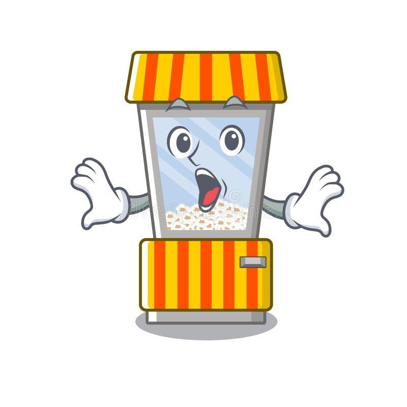 Surprised popcorn vending machine is formed cartoon. Illustration vector stock illustration