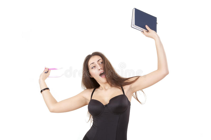Download Surprised Pretty Girl With Book, Pen And Glasses Stock Photo - Image: 18302430