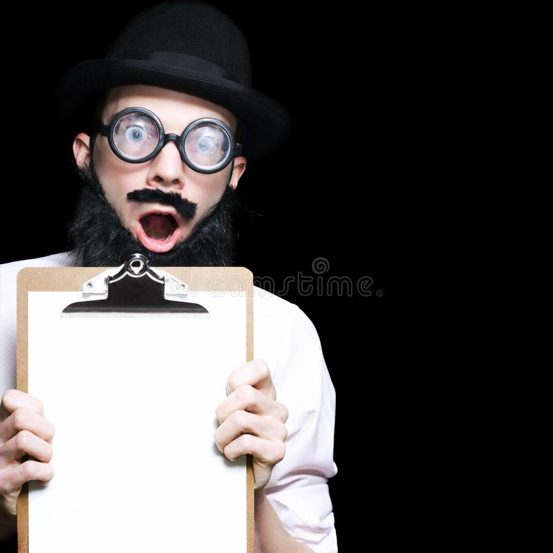 Surprised Professor Holding A Copy Space Clipboard